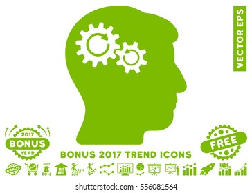 Eco Green Head Wheels Rotation pictograph with bonus 2017 trend icon set. Vector illustration style is flat iconic symbols, white background.