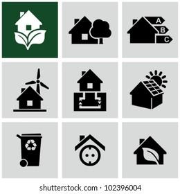 Eco green house icons set. Environmentally friendly home.