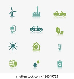 Eco green icons with reflection