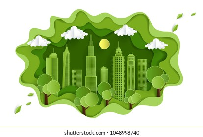 eco green illustration with views of grass, hills and city. design paper art and crafts
