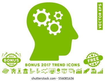 Eco Green Intellect Gears icon with bonus 2017 year trend pictograms. Vector illustration style is flat iconic symbols, white background.