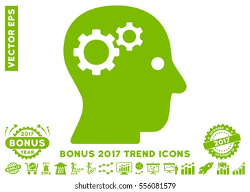 Eco Green Intellect Gears pictogram with bonus 2017 trend design elements. Vector illustration style is flat iconic symbols, white background.