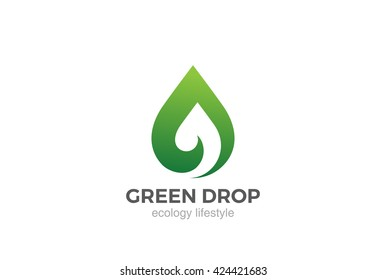 Eco Green Leaf abstract drop shape Logo design vector template Negative space. Bio Ecology Concept Logotype droplet icon.