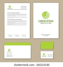 Eco green leaf logo template. Mock-up.  Company logo design.