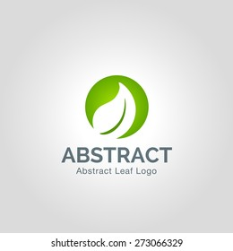 Eco green leaf logo template. Abstract Vector Green leaves Ecology icon.