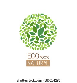 eco green leaves in circle vector illustration