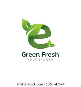 Eco green letter E logo design template. Green alphabet vector designs with green and fresh leaf illustration.
