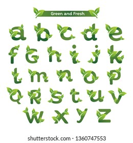 Eco green letter pack logo design template. Green alphabet vector designs with green and fresh leaf illustration.