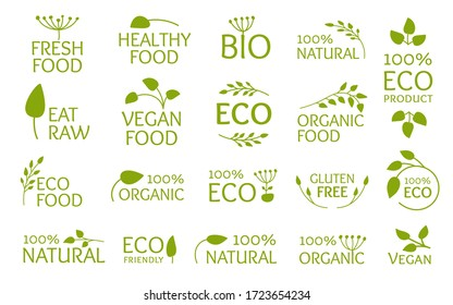 Eco green logo set, icon with leaves. Emblem symbol for organic natural product, bio, gluten free, eat raw. Vegan fresh, healthy food. Sign for badges, tags, packaging. Isolated vector illustration