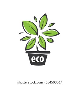 eco green logos vector, pot