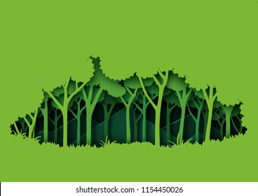 Eco green nature forest background template.Ecology and environment conservation creative idea concept paper art style.Vector illustration.