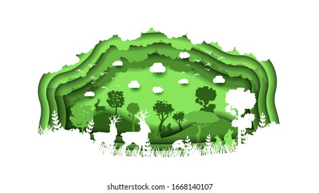 Eco Green Paper Cut Background Vector Nature Animal Clouds Forest