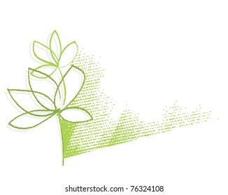 Eco - green plant motive (simple linear drawing, chalk technique, textured grunge background, vector)