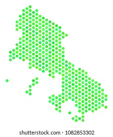 Eco green Skyros Greek Island map. Vector hex tile territory plan in fresh green color shades. Abstract Skyros Greek Island map concept is combined with hexagon spots.