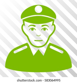Eco Green Soldier toolbar pictogram. Vector pictogram style is a flat symbol on diagonal hatch transparent background.