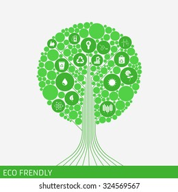 Eco green tree. Icon green frendly. Idea eco frendly.