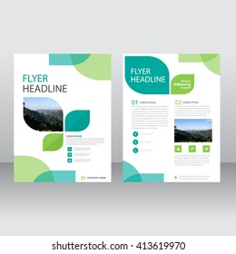 Eco Green Vector annual report Leaflet Brochure Flyer template design, book cover layout design, Abstract green presentation templates
