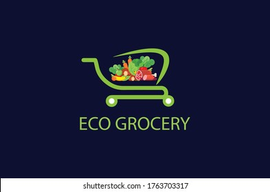 eco grocery online shop logo design idea,store logo,logo design,unique grocery logo ,creative grocery logo,eco grocery logo design template