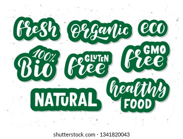 Eco hand drawn lettering set. Healthy food. GMO free. Motivational text. Greetings for logotype, badge, icon, card, postcard, logo, banner, tag. Vector illustration.