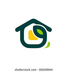 Eco home sign Branding Identity Corporate vector logo design template Isolated on a white background