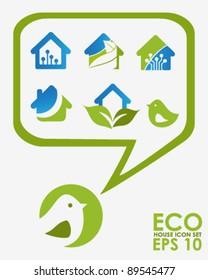 Eco House Icons Set