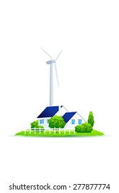 Eco House. Illustration of green energy for the house on a small plot of land. Wind Power Turbine. Isolated on white background.