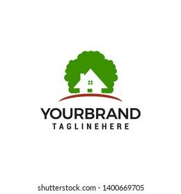 eco house logo design concept template vector