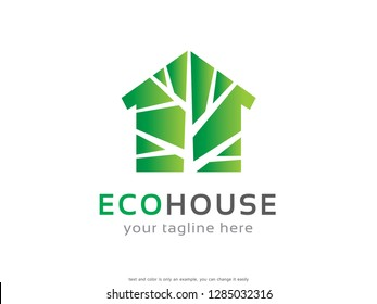 Eco House Logo Template Design Vector, Emblem, Concept Design, Creative Symbol, Icon