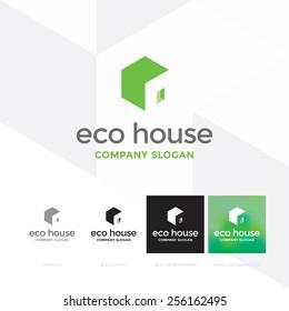 Eco house logo template / Hexagon forming a house - vector icon