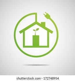 Eco House Real Estate icon. Vector design