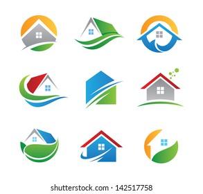 Eco house real estate logo green icons
