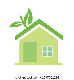 Eco house vector icon. Home with leaf filled flat sign for mobile concept and web design. Green house glyph icon. Symbol, logo illustration. Pixel perfect vector graphics