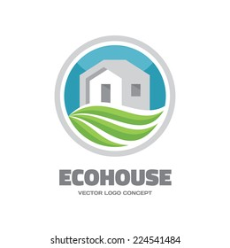Eco House - vector logo template concept. Building and green leaves ecology illustration sign. Houme real estate symbol. Nature ecology cottage icon. Design element.