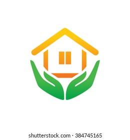 Eco House Vector Logo Template