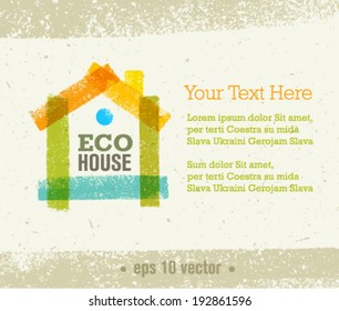 Eco House Vector Organic Creative Illustration on Paper Background