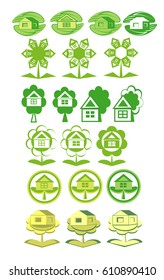 Eco houses. Set of logos.