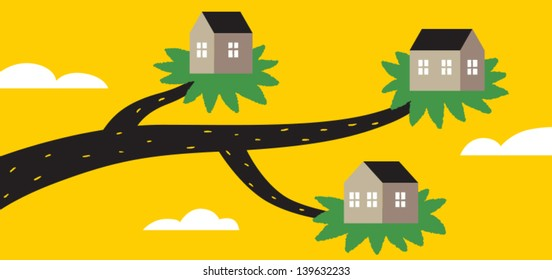 eco houses vector illustration