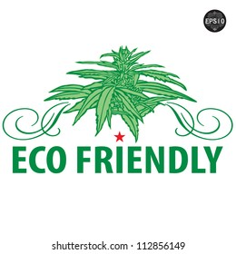 ECO Icon with Isolated cannabis plants vector illustration