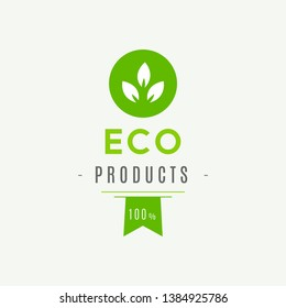 Eco icon, label. Organic tags. Natural product element. Flat stamp. Natural eco product. Vector label sign