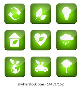eco icon on green button application background for design