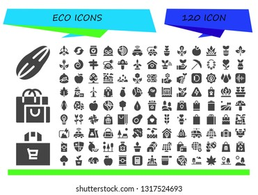 eco icon set. 120 filled eco icons.  Collection Of - Seed, Shopping bag, Wind, Recycle, Bag, Plant, Planet earth, Electric car, Green energy, Apple, Grass, Leaf, Fossil, Panel