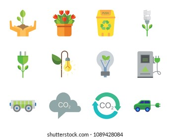 Eco Icon Set. Electrocart Flowers Electrocar Carbon Dioxide Cycle CO2 In Cloud Eco-friendly Lightbulb Circulation Sign Electric Plug Flower Lamp Flower Environmental Protection Eco Energy Recycle Bin