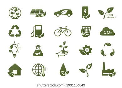 eco icon set. eco friendly, ecology, green technology and environment symbols. isolated vector images in flat style
