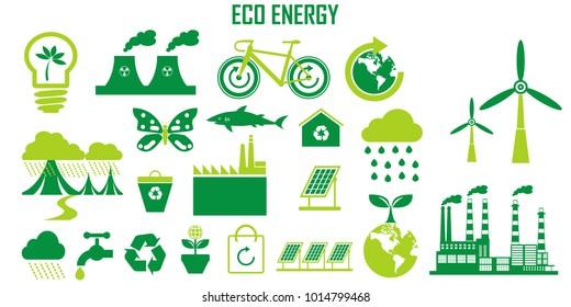 ECO  icons, mono vector symbols