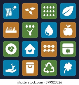 eco icons set. Set of 16 eco filled icons such as plant, leaf, tree, flower, Clover, recycle, sprout plants, apple, eco house, watering system, drop, solar panel