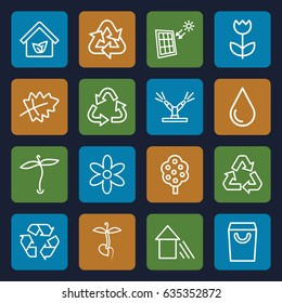 Eco icons set. set of 16 eco outline icons such as plant, leaf, tree, flower, recycle, water drop, sprout, arrow up, eco house, watering system, solar panel