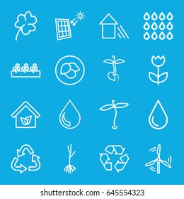 Eco icons set. set of 16 eco outline icons such as plant, leaf, clover, recycle, water drop, sprout plants, sprout, arrow up, flower, eco house, drop, solar panel