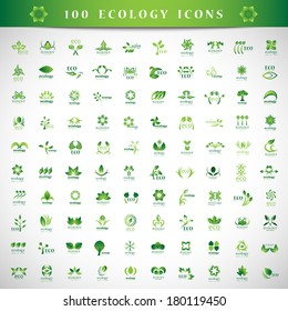 Eco Icons Set - Isolated On Gray Background - Vector Illustration, Graphic Design Editable For Your Design.
