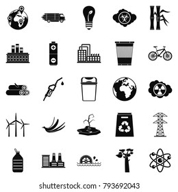Eco icons set. Simple set of 25 eco vector icons for web isolated on white background
