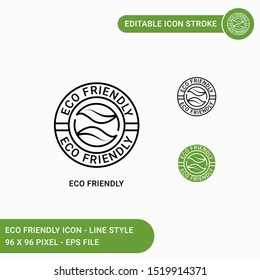 Eco icons set vector illustration with icon line style. Eco friendly packaging concept. Editable stroke icon on isolated white background for web design, user interface,  and mobile application